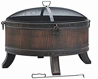 Fire Pit by Hampton Bay - Emberjack 36 in. Round Steel Wood Burning Fire Pit for Outdoor with Spark Guard and Aged Bronze Finish by Hampton Bay