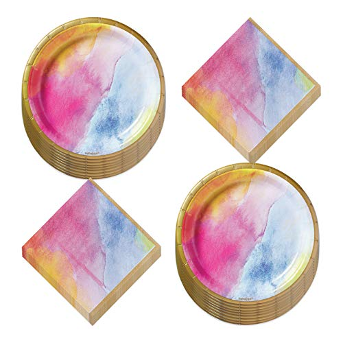 Rainbow Dream Watercolor Marbled Tie Dye Paper Dessert Plates and Beverage Napkins (Serves 16)