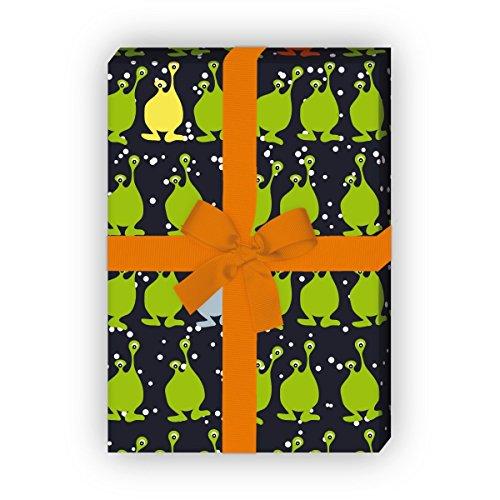 Grappig cadeaupapier voor kinderen, set van 4 vellen, decoratief papier met Space Monsters voor kleine cadeauverpakking en verrassingen (32 x 48 cm)