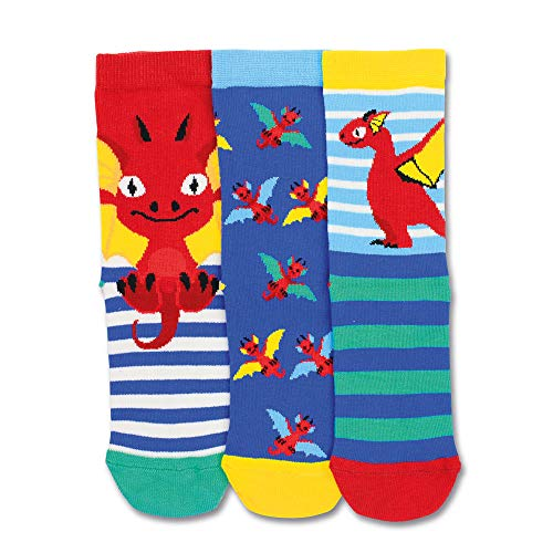 trendaffe Drachen Socken in 27-30 im 3er Set - Roter Drache Strumpf