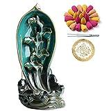 Bruciatore di incenso in ceramica con 150 coni, porta incenso con riflusso a cascata, ornamento per aromaterapia, arredamento Zen, decorazioni per la casa, decorazioni per la camera