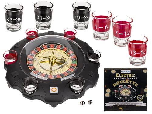 ReWu Juego de beber con ruleta electrónica, con 6 vasos y 2 bolas