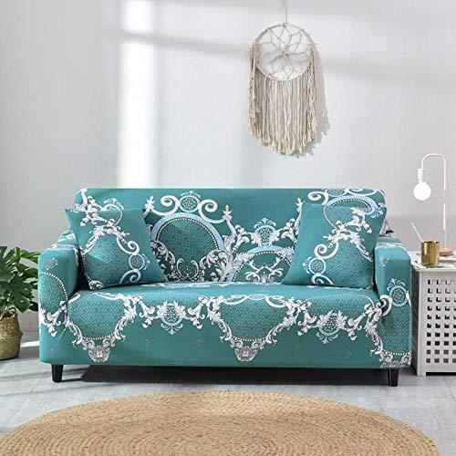 Funda de sofá de 3 Plazas Funda Elástica para Sofá Poliéster Suave Sofá Funda sofá Antideslizante Protector Cubierta de Muebles Elástica Patrón de Flor Azul Funda de sofá