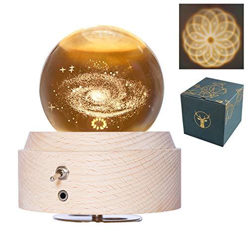 DUTISON, sfera di cristallo con carillon con luce, in legno rotante, palla di neve illuminata, idea regalo per bambini, amanti del Natale