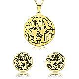Epinki Damen Schmuck-Set, Edelstahl Vergoldet Abendkleid Schmuck Halskette & Ohrringe Personalisierte Graffiti Rund Dog Tag 'MAMA FOREVER' Brautschmuck Gold-Groß 0CM