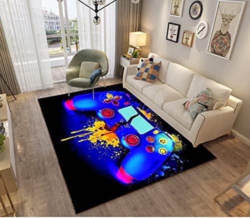 Alfombras Dormitorio Juvenil Chico Chica Infantiles Niño Adulto Juegos 3D Gamer Video Alfombras De Habitacion Rectangular Lavables Grandes Pequeñas Alfombras Salon (Azul,80x120 cm)