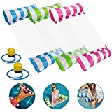 Icnow Water Hammock, 3 pack 4 In 1 Inflatable Pool Float Hammock Air Lightweight Floating Chair Bed Portable Swimming Pool Beach Hot Tub Mat Toys for Kids Adults Bearing 120kg with 2 Foot Pump