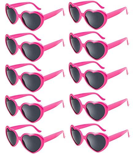 FSMILING 10 Stück Neon Farben Herz Form Party Sonnenbrille für Damen Kinder Festival(hot pink