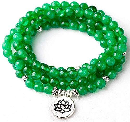 PPQKKYD Collar Señoras Hombres 6 mm Esmeralda facetada Yoga Equilibrio Mala Buda 108 Collar de Loto con Cuentas Collar Regalo de la joyería para él