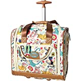 Lily Bloom Designer 15 Inch Carry On - Weekender Overnight Business Travel Luggage - Lightweight 2- Rolling Wheels Suitcase - Under Seat Rolling Bag for Women (Furry Friend)