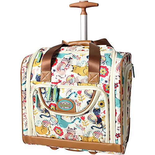 Lily Bloom Designer 15 pouces Carry On - Bagage de voyage de nuit pour week-end - Valise légère à 2 roues pivotantes - Sac à roulettes sous le siège pour femme (Furry Friend)