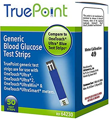 True Point Generic Test Strips 50 Count for Use with One Touch Ultra, Ultra2, Ultra Mini and UltraSmart meters (Meter NOT Included, Test Strips ONLY)