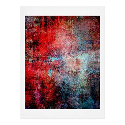 Society6 Sheila Wenzel-Ganny Modern Red Abstract Kunstdruck, Baumwollfaser-Papier, Mehrfarbig, 18