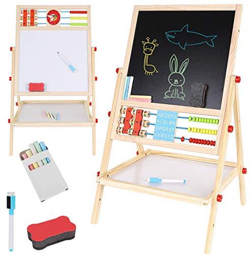 KRUZZEL Multifunktions Zweiseitiges Zeichenbrett aus Holz Staffelei Spieltafel mit Aufbewahrungsregal und Zubehör 9449