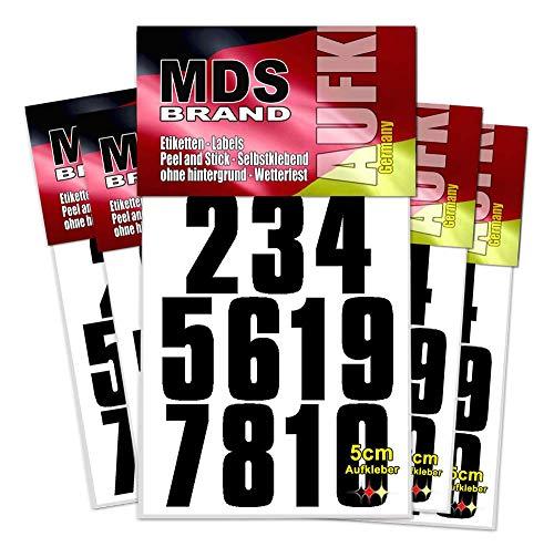 5cm Zahlen 1-10 - 5-Pack - Selbstklebend - Klebezahlen wetterfest Schwarz