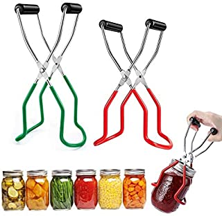 Canning Jar Lifter Tongs Stainless Steel Jar Lifter with Grip Handle Anti-Slip Wide-Mouth Clip for Safe and Secure Grip 2 ...