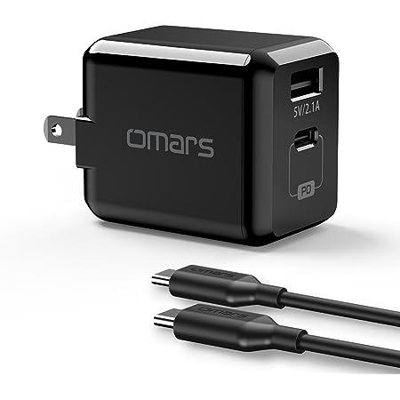 Omars USB C急速充電器「PSE認証済」29W PD3.0 急速充電対応( PD18W)小型チャージャー (c to c ケーブル付き),iPhone 11/11 Pro/11 Pro Max/XS、XS Max/XR/X/8Plus/8,iPad Pro/Samsung Galaxy S9/S9Plus/S8/S8 Plus/ iPad/iPad pro/iPad mini/S7/S6,Macbook, Nexus 6P/5X, LG G5,Google Pixel 2 XL, Moto Z , HTC,Sony 等対応 2ポート)ブラック