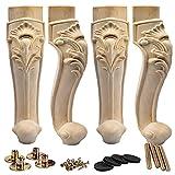 La Vane - Juego de 4 patas de madera para muebles de 40 cm, estilo europeo, madera maciza, para decoración de sofá, armario, mesa, sofá