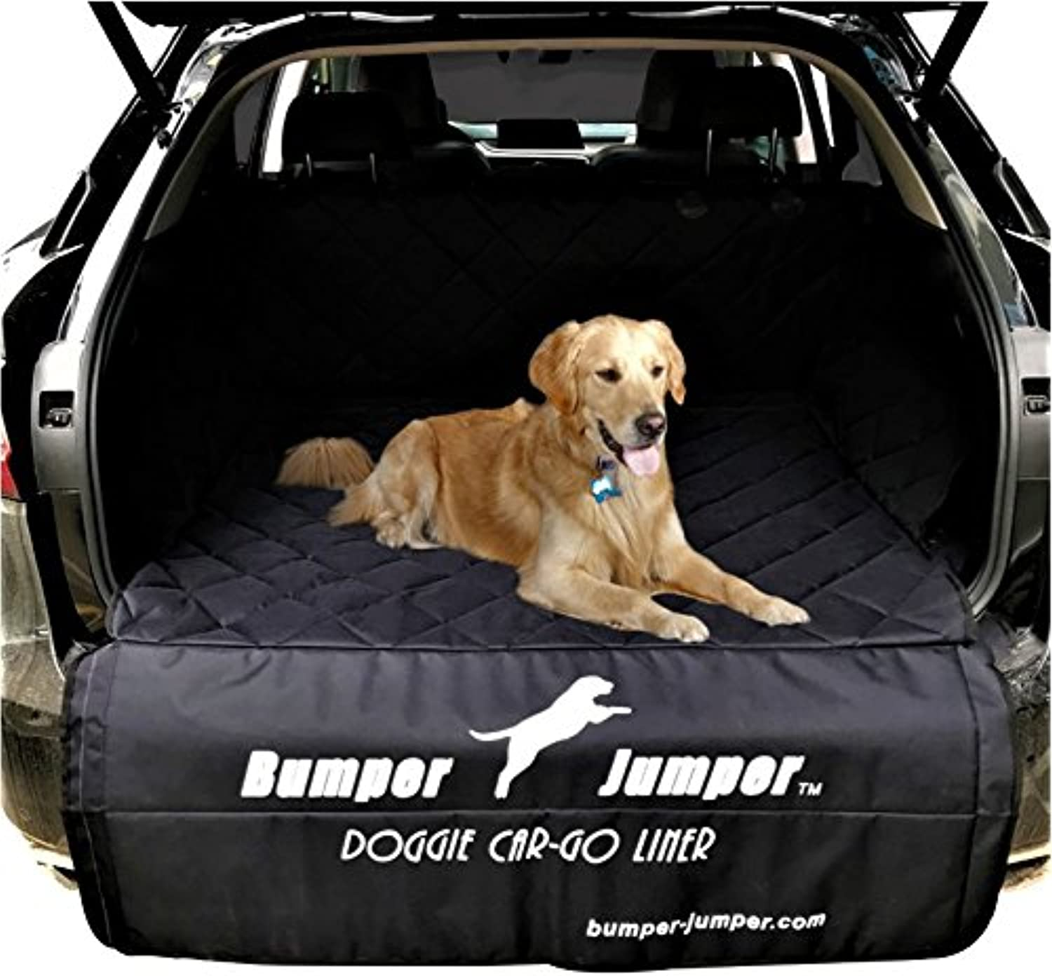 Bumper Jumper  Deluxe Doggie SUV Cargo Trunk Liner Cover, DEEP Plush Quilted, Water Proof, Washable, Non Slip Backing, FITS Most SUVs, Predects Bumper from Doggie Scratches. (Measure Your Vehicle)