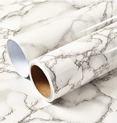 30 cm x 250 cm, weiß-graues Klebepapier Marmor Tapeten Folie Peel Stick Granit Vinyl Küche Badezimmer Arbeitsplatte Fliesenaufkleber Möbel Marmor Papier selbstklebende Rückseite Kunststoffrolle