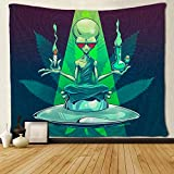 SARA NELL Magical Trippy Psychedelic Tapestry Cool Alien Take Cigar and Drug Marijuana Leaf Weed Tapestries Wall Hanging Hippie Art 60x80 Inches Home Decoration Dorm Decor for Living Room Bedroom