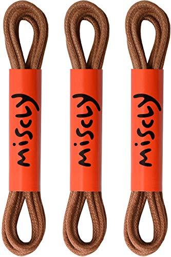 Miscly – Schnürsenkel für Anzugschuhe - Gewachst Rund Reißfest Dünn [3 Paar] – 100% Baumwolle - Ø 2.4 mm (91 cm, Braun)