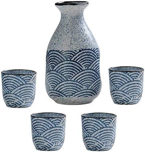 LYYF Juego tradicional de 5 piezas de sake japonés con diseño de textura de ondas, tazas de cerámica para manualidades, copas de vino frío/cálido/Shochu/té 21219
