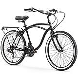 sixthreezero Around The Block Men's 21-Speed Beach Cruiser Bicycle, 26' Wheels, Matte Black with Black Seat and Grips