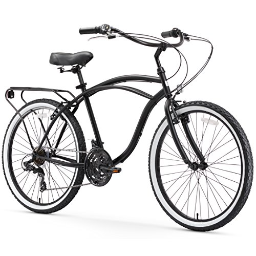 sixthreezero Around The Block Men's 21-Speed Beach Cruiser Bicycle, 26' Wheels, Matte Black with Black Seat and Grips
