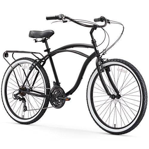 "sixthreezero Around The Block Men's 21-Speed Beach Cruiser Bicycle, 26"" Wheels, Matte Black with Black Seat and Grips"