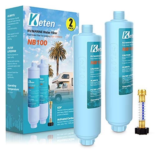 Keten RV/Marine Inline Water Filter, NSF Certified, Reduces Lead, Fluoride, Chlorine, 2 Pack Drinking Filter with1 Hose Protector