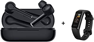 HUAWEI FreeBuds 3i - Wireless Earbuds with Ultimate Active Noise Cancellation (3-mic System Earphones, Fast Bluetooth Connection, 10mm Speaker, Pop to Pair), Black + Band 4