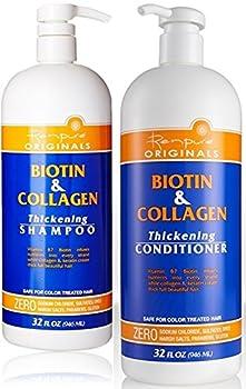 Renpure Originals Biotin & Collagen Thickening Shampoo And Conditioner Set 32 Oz  Zero Sodium Chloride Sulfate Dyes Harsh Salts Parabens Gluten