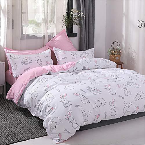 Mitchell Mädchen Kinder Bettwäsche Set 135x200 Rosa Weiß Hase Motiv 2tlg Kinderbettwäsche Mädchenbettwäsche Mikrofaser Bettbezug Reißverschluss Kissenbezug 80x80