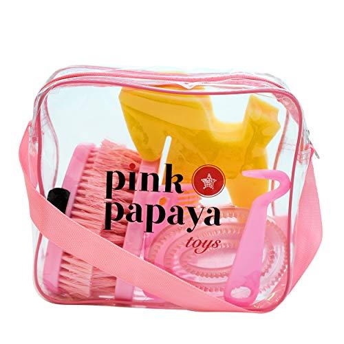 Pony, Pferde Putzbox für Kinder , für plüschpferde und echte Pferde zum Reiten / Putztasche Lexington - 7-teilig, Pink