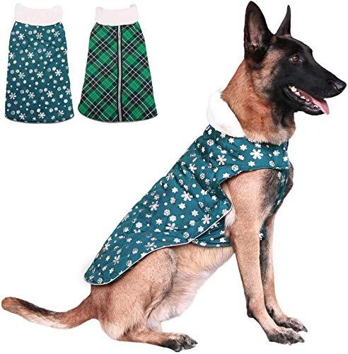 Świąteczny płatek śniegu, płaszcz dla psów, zimna, ciepła kurtka polarowa, wodoszczelna, wiatroszczelna kamizelka dla psów, ze futrzaną obrożą dla małych średnich i dużych psów (L)