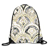 Lawenp Plegable Marble Art Deco Tiles In Charcoal Grey Drawstring Bag, Sports Cinch Sacks String Drawstring Backpack for Picnic Gym Sport Beach Yoga