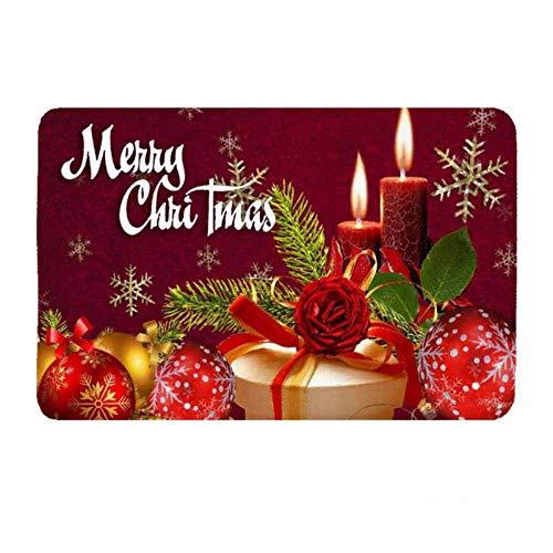 Deurmat tapijt, 3D-gedrukt kerstcadeau kaars antislip soft ingang tapijt mat welkom slaapkamer hal rechthoekige deurmat voor Kerstmis Home Woonkamer Deco 40×60cm