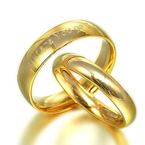 Größen 47 bis 76, Personalisierte His Herr der Ringe & Her vergoldet Eheringe Titan, gewölbt Pumps