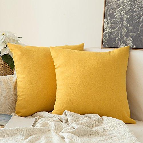 MIULEE Fundas de Cojines Almohada Caso de la Cubierta del Amortiguador Decorativo Lino Duradero Decoración para Sofá Cama Coche Limon Amarillo 20