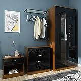 ELEGANT Modern High Gloss <span class='highlight'>Wardrobe</span> and Cabinet Furniture Set <span class='highlight'>Bedroom</span> 2 Doors <span class='highlight'>Wardrobe</span> and 4 Drawer Chest and Bedside Cabinet, Black/Walnut