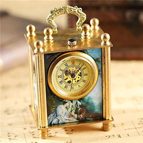 LEYUANA Reloj mecánico de Pintura única, Reloj de Soporte Vintage Antiguo Arte Pintura al óleo Cuadrado Retro Bronce decoración del hogar Reloj Reloj Oro