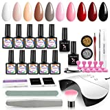 Shelloloh Kit Vernis Gel Semi Permanent 10 couleurs Kit de Manucure Nail Art Machine à Ongles 36W UV/LED Lampe Pour Sechoir Nail Outils Lime à Ongle Accessoires Strass Decoration DIY