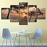 DBFHC Cuadros Modernos Impresión De Imagen Artística Digitalizada Puente De Madera Palm Trees Beach Lienzo Decorativo para Salón O Dormitorio 5 Piezas XXL