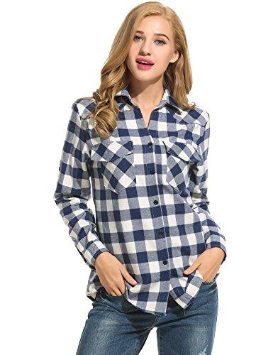 Zeagoo Womens Plaid Flannel Shirts, Rolled Sleeves Buttoned Boyfriend Gingham Shirts, Dark Blue, Large