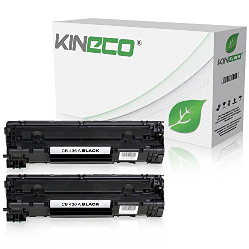 Kineco 2 Toner kompatibel zu HP CB436A 36A Laserjet M 1120a h n w MFP, 1522NF MFPm, M 1500 Series, P 1503n, P 1504n, P 1505n, P 1506n - Schwarz je 2.000 Seiten