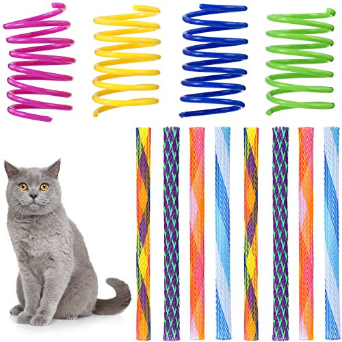 Skylety 50 Pieces Cat Spring Toys Set Colorful Coils for Kittens Plastic Cat Springs Tube Toys Playful Coils for Cats Kittens Random Color