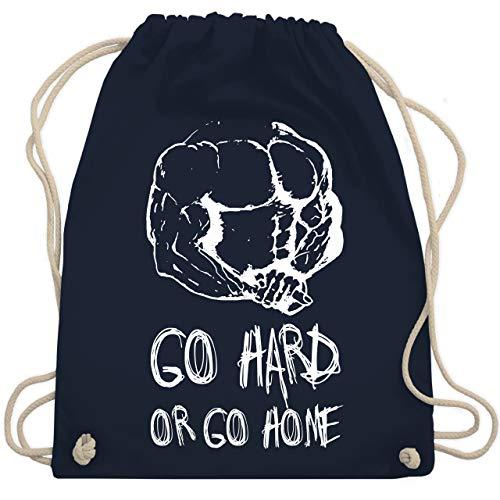 Shirtracer Fitness & Workout - Go hard or go home - Unisize - Navy Blau - Gewichtheber - WM110 - Turnbeutel und Stoffbeutel aus Baumwolle