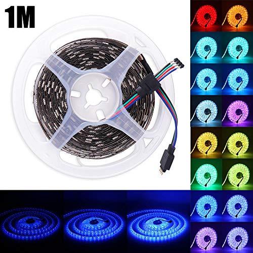 Preisvergleich Produktbild Prenine LED Strip 1m RGB LED TV Licht Streifen mit 24 Tasten Fernbedienung,  Nicht wasserfest,  Netzteil 12V für Schlafzimmer Weihnachtsfeier Dekoration