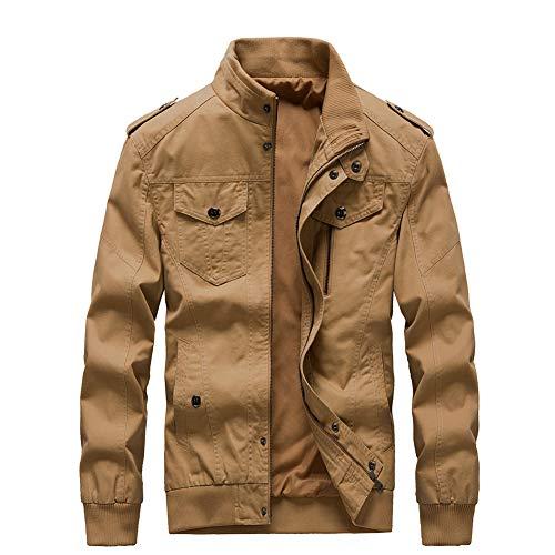 Buytop Men's Casual Winter Cotton Military Jackets Outdoor Full Zip Army Coat(811Khaki-L)